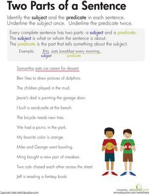 subject  predicate worksheet worksheet educationcom