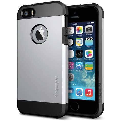 iphone 5 s cases spigen tough armor for iphone 5 5s satin silver