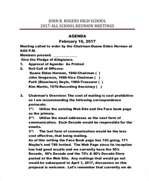reunion agenda examples samples