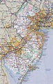 Large detailed roads and highways map of New Jersey state ...