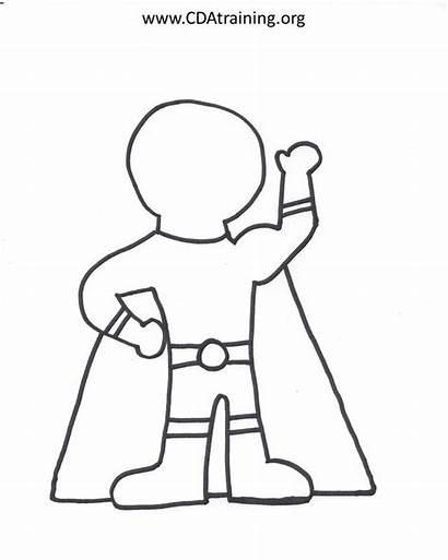 Template Superhero Hero Super Outline Drawing Blank
