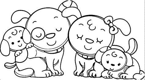 animal dog family family coloring page wecoloringpage