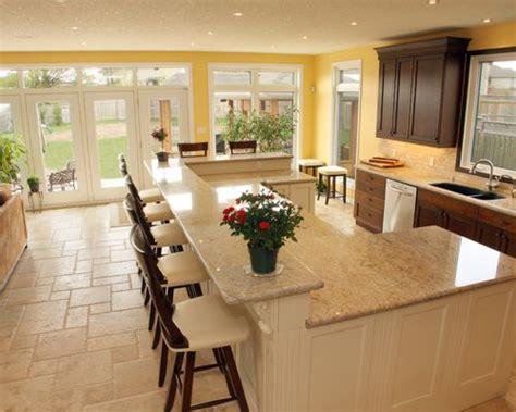 beige kitchen backsplash raised bar height peninsula home design ideas pictures 1572