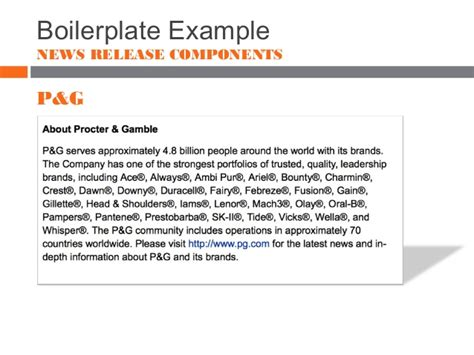 boilerplate template news releases