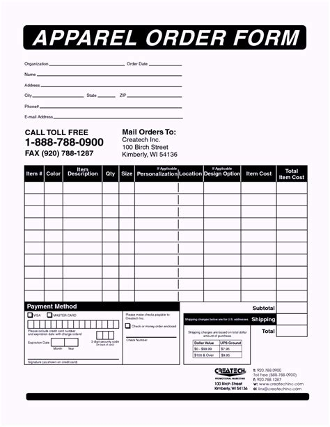 Order Form Template Clothing Order Form Templates Template Update234