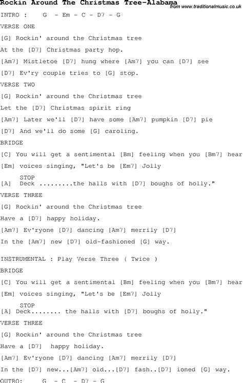 christmas carol song lyrics with chords for rockin around