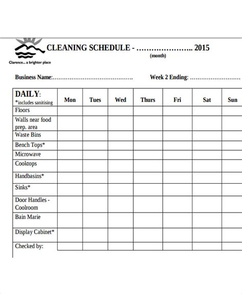 Cleaning Schedule Template Cleaning Schedule Template For Restaurant Printable