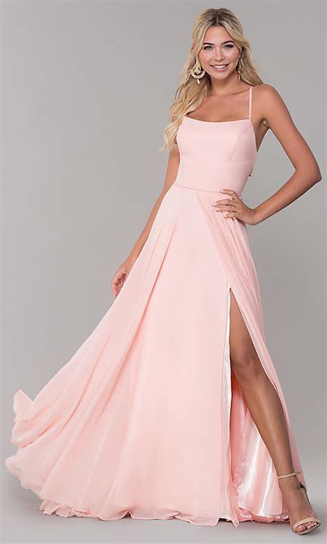 Long Side-Slit Open-Back Pink Prom Dress - PromGirl