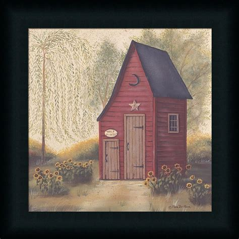 primitive bathroom wall decor folk outhouse ii country primitive bathroom framed