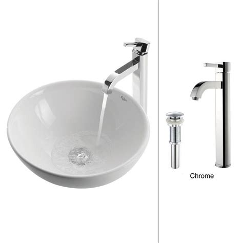 home depot kraus vessel sink kraus ceramic sink in white with ramus faucet in
