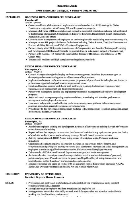 Human Resource Generalist Resume by Senior Human Resources Generalist Resume Sles Velvet