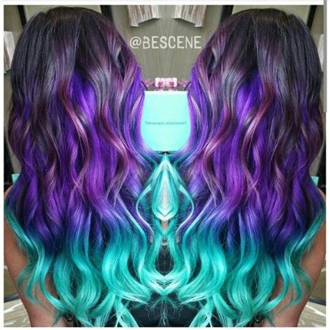Purple Turquoise Blue Ombre Dyed Hair Hair Perfect