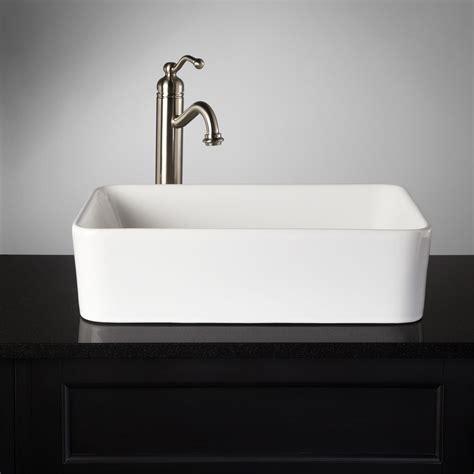 Blanton Rectangular Porcelain Vessel Sink  Bathroom Sinks