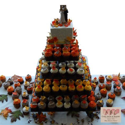 tier wedding cake cupcakes  fall color abc
