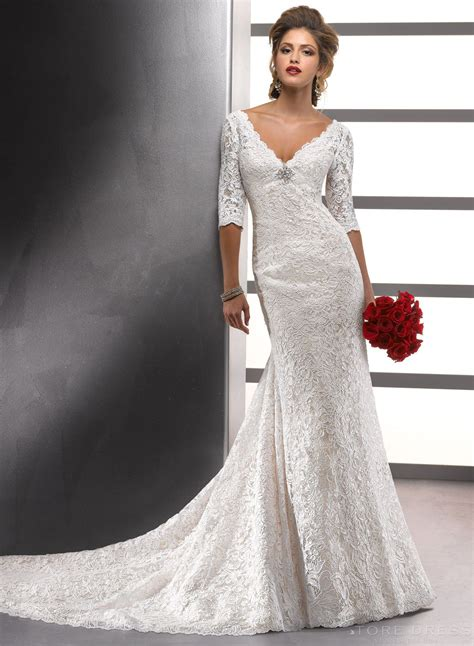 Dreamy 2014 New Arrival Style V-neck Lace Wedding Dress at ...