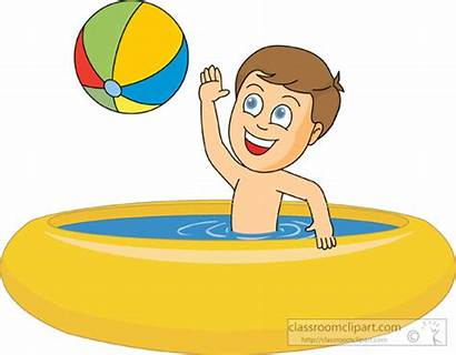 Pool Swimming Clipart Clip Boy Playing Inside