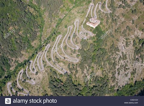 col di tende switchbacks aerial view mountain road leading to