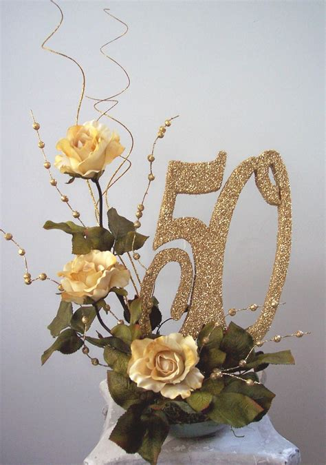 50th anniversary table decorations 50th centerpieces with pictures roses and cutouts www