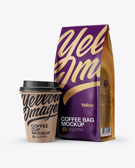 Including multiple different psd mockup templates like cardboard box, cosmetics, coffee cup/mug, shopping bag, car and van mockups. Download Matte Bag with Kraft Coffee Cup Mockup - Half ...