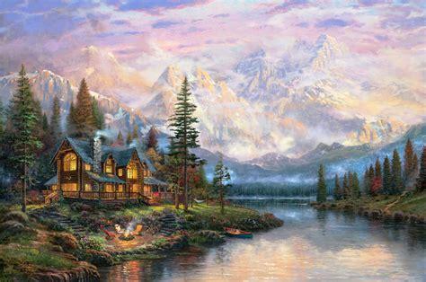 cathedral mountain lodge thomas kinkade painting mountain