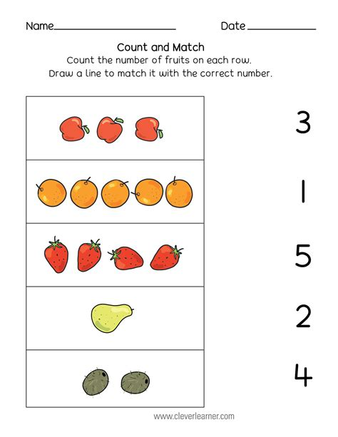number matching counting and number writing worksheets