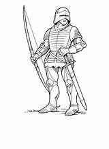 Medieval Archer Drawing Coloring Knight Pages Getdrawings sketch template