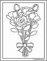 Coloring Bouquet Rose Pages Roses Printable Bush Ribbon Drawing Pdf Striped Print Getdrawings Wild Getcolorings Colorwithfuzzy Customize Printables sketch template