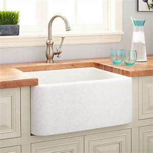 24quot polished marble farmhouse sink white thassos kitchen With 24 inch white farmhouse sink