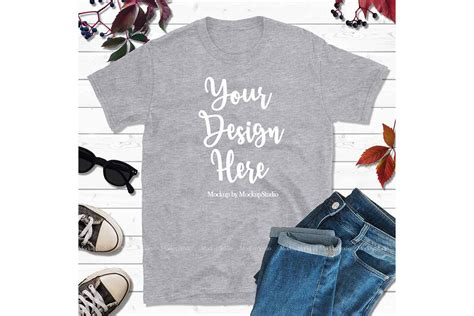 All free tshirt mockups consist of unique design with smart object layer for easy edit. Autumn Fall Heather Gray Gildan Tshirt Mock Up Flat Lay Tee