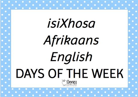 list of days in week 28 images isixhosa afrikaans days
