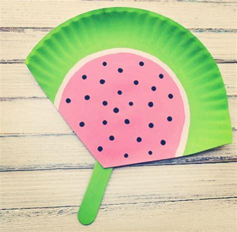 diy hand held fan summer crafts  kids watermelon