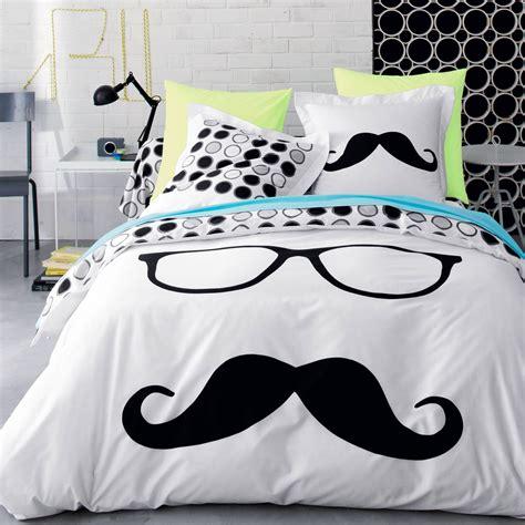 housse de couette coton moustache 3 suisses ambiance chambre room bedroom et