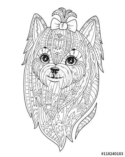 vector adult coloring page with dog doodle yorkshire