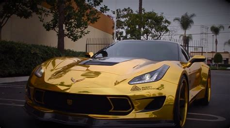 gold chrome wrapped corvette   flashy