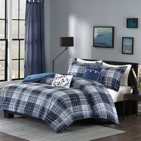plaid comforter beautiful modern blue light grey white navy plaid stripe comforter set pillows ebay