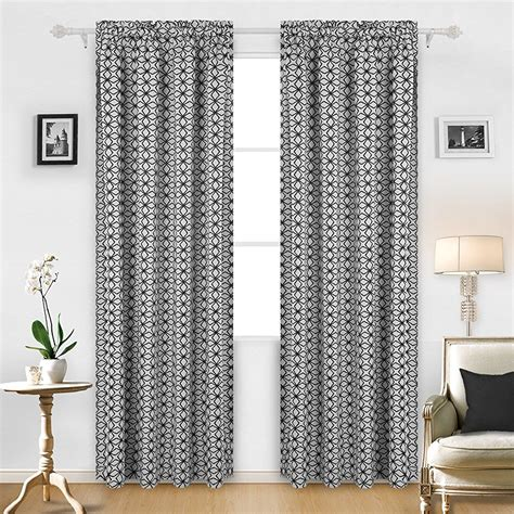 Drapes Geometric Pattern - contemporary modern black white geometric pattern curtains
