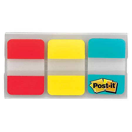 Office Supplies Tabs by Post It Notes Durable Filing Tabs 1 X 1 12 Blueredyellow