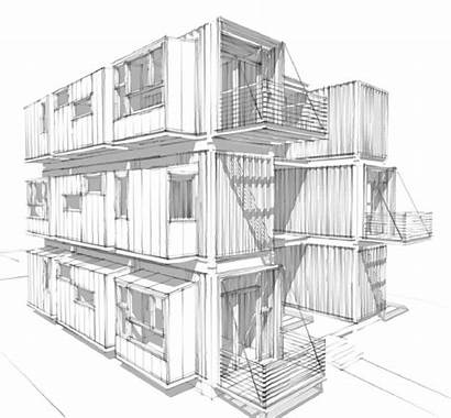 Container Sketch Plans Shipping Modern Building Structure