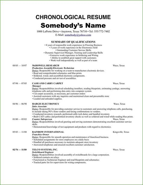 Chronological Resume Advice by Make A Chronological Resume Template 2018 Work For You