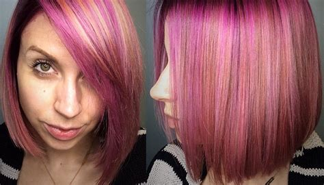 Women's Sleek Peachy Pink Highlighted Bob With Side Swept