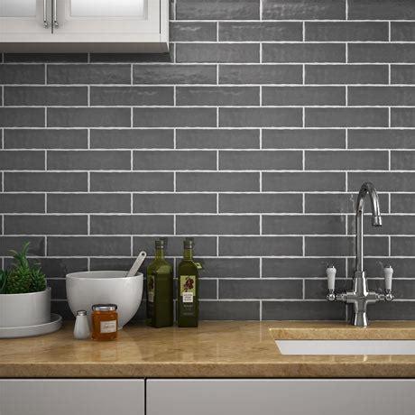 grey kitchen wall tiles mileto brick grey gloss ceramic wall tile 75 x 300mm 4079