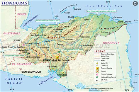 honduras map map  honduras