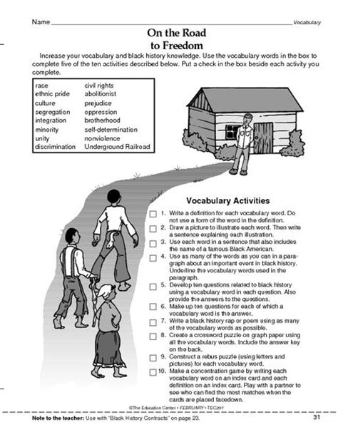 free black history month worksheets for middle school