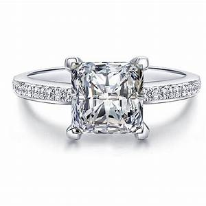 fine princess cut created diamond solid real 925 sterling With sterling silver wedding rings with real diamonds