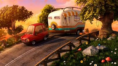 Camping Cartoon 3d Digital Caravan Drawings Illustration