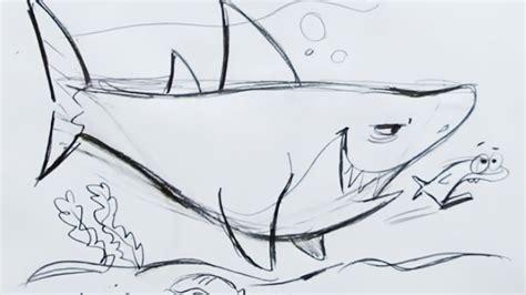 draw  cartoon shark step  step youtube