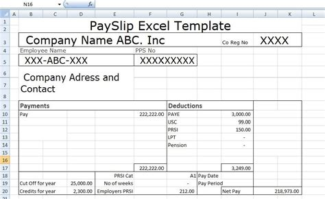 payslip template format  excel  word