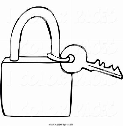 Key Coloring Lock Outline Padlock Drawing Clipart