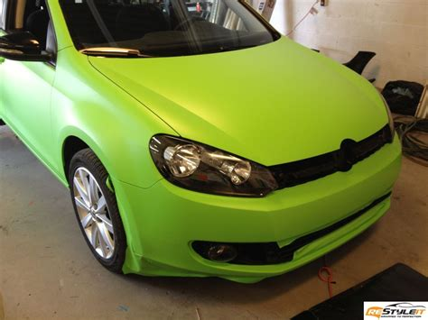 matte lime green vw golf vehicle customization shop