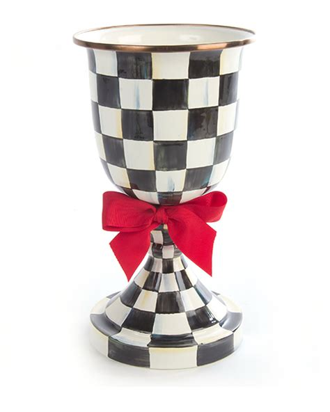 Mackenzie Childs Vase by Mackenzie Childs Courtly Check Pedestal Vase With Bow